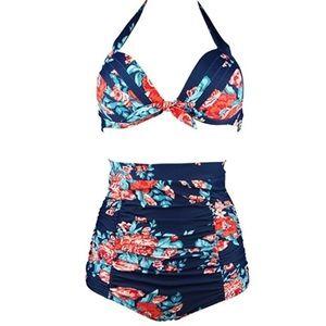 Cocoship Floral Print Retro Bikini Swim Set